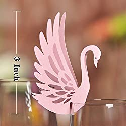 Pixnor Pack of 50 Place Name Cards - Wedding Table Wine Glass Place Name Cards Favor Decor Swan Shape (Pink)
