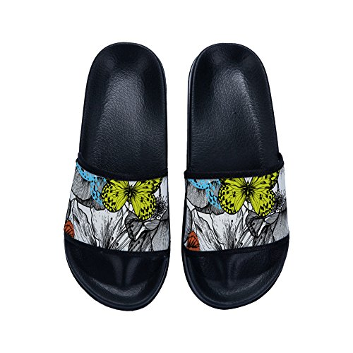 Black and Slip Womens Quick for Slippers Slippers Non Drying Slippers Butterflies Flowers 5Bx0w0Pv