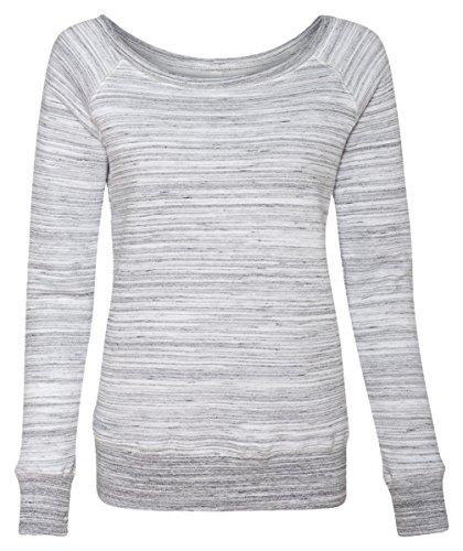 Bella 7501 Womens Sponge Fleece Wide Neck Sweatshirt - Light Grey Marble Fleece, Small