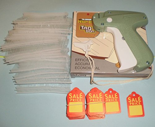 CLOTHING PRICE LABEL TAGGING TAG GUN 1000 pins FASTENERS + 100 PRICE LABELS by Refine