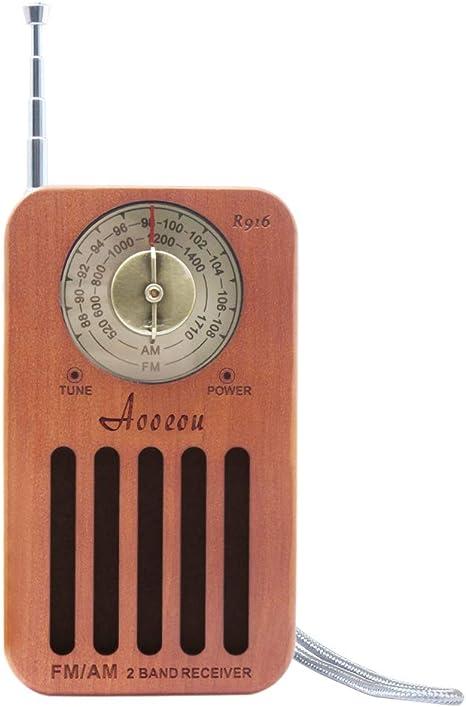 Vintage Radio de Bolsillo, Retro Altavoz Madera Radio Pequeña Portátil Am FM Batería Operación, con Buena recepción y Toma de Auriculares, Ideal para Caminar Trotar y Viajar: Amazon.es: Electrónica