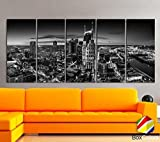 Original by BoxColors XLARGE 30''x 70'' 5 Panels 30''x14'' Ea Art Canvas Print Nashville Skyline Downtown night Black & White Wall Home office decor interior ( framed 1.5'' depth)