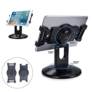 AboveTEK Retail Kiosk iPad Stand, 360° Rotating Commercial Tablet Stand, 6-13.5″ iPad Mini Pro Business Tablet Holder, Swivel Design for Store POS Office Showcase Reception Kitchen Desktop