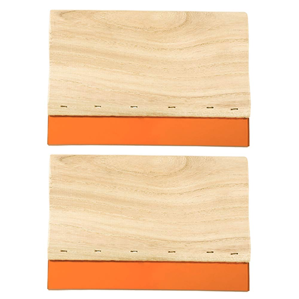 Caydo 2 Pieces 5.9 inch Screen Printing Squeegee 75 Durometer Wooden Ink Scraper for Screen Printing