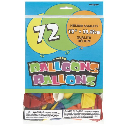 Assorted Color Latex Balloons 72ct