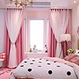 Iusun Curtains for Bedroom, Starry Sky Sheer Sunblind Curtain Tulle Window Treatment Voile Drape Valance Double-deck Curtains (Pink)