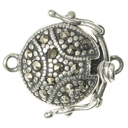 Dreambell .925 Sterling Silver Roung Marcasite 1-strand Pearl Box Clasp 17mm Connector Switch Bead with Safety Lock