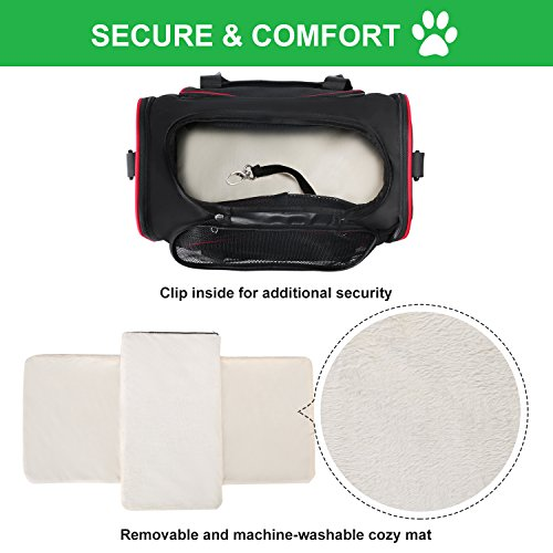 Soft Side Pet Carrier, Pet Carrier for Dogs & Cats, Expandable Soft Pet Carrier with Removable Fleece Mat for Easy Carry on Luggage, Travel Bag for Small Animals, Portable Handbag, Black by wot i (Image #2)