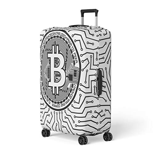 Pinbeam Luggage Cover Board Bitcoin Mining Chip Circuit Coin Connect Cryptocurrency Travel Suitcase Cover Protector Baggage Case Fits 26-28 inches