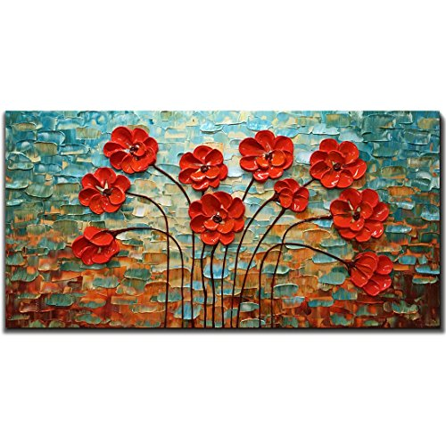 Metuu Modern Canvas Paintings, Texture Palette Knife Red Flowers Paintings Modern Home Decor Wall Art Painting Colorful 3D Flowers Wood Inside Framed Ready to hang ()