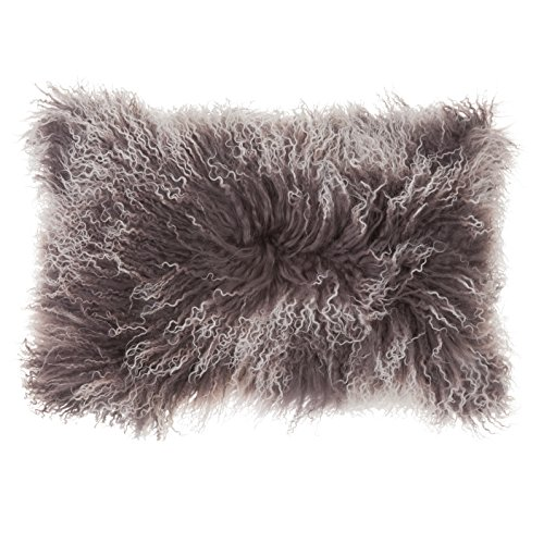 SLPR Two-tone Snow Top Effect Lamb Fur Throw Pillow Cover (12'' x 20'', Two-Tone Grey) | Decorative Mongolian Soft Lush Decorative Cushion Cover Pillow Case for Living Room Bedroom