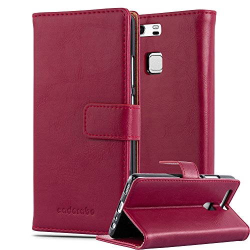 Cadorabo - Funda Estilo Book Lujo para Huawei P9 con Tarjetero y Función de Soporte - Etui Case Cover Carcasa Caja Protección en ROJO-BURDEOS ROJO-BURDEOS