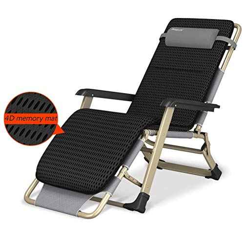Four Seasons Folding Reclining Chairs with Removable Cushions, Office Patio Beach Deckchairs for Heavy Duty People, Support 440lbs (Color : Gray+Black 4D pad)