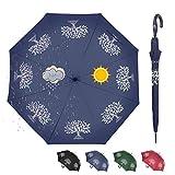 CARRYWON Color Changing Auto Open Stick Umbrella Tree of Life Umbrella 8 Ribs Waterproof Windproof Sunshade Sunblock UPF30+ J Handle Golf Umbrella for Women Kids Adult(Blue)