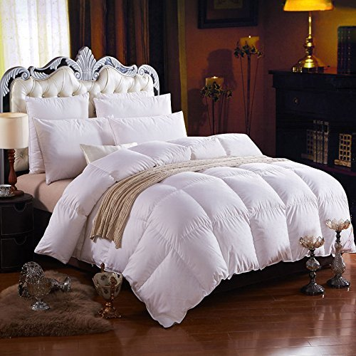 1500 Thread Count Baffle Box Medium Weight Goose Down Comforter, White, California (White Heavy Medium Weight)