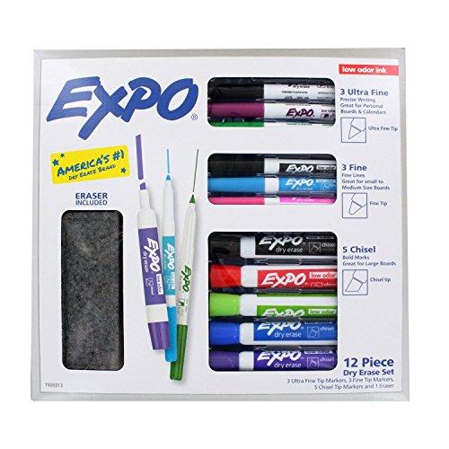 Expo Low Odor 12 Piece Dry Erase Set, Chisel Tip, Fine Tip, Ultra Fine Tip