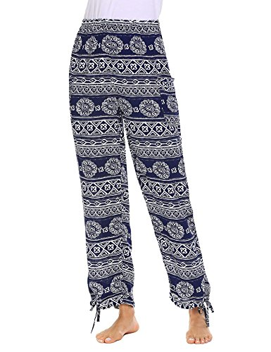 Elephant Womens Light (Donkap Elephant Pants For Yoga and Harem Hippie Style Women's High Waist Navy Blue XXL)
