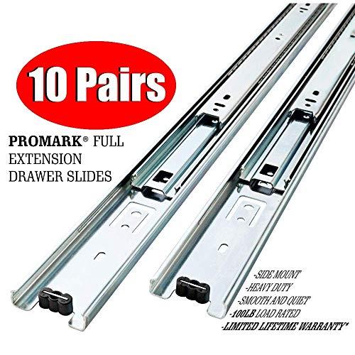10 Pack Promark Full Extension Drawer Slide (16 Inches) ()