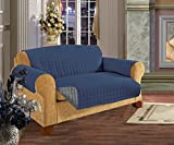 Elegant Comfort QUILTED FURNITURE PROTECTOR for Pet Dog Children Kids -2 TIES TO STOP SLIPPING OFF Treatment Microfiber As soft as Egyptian Cotton, Natural Sofa Navy Blue / Gray Love Seat