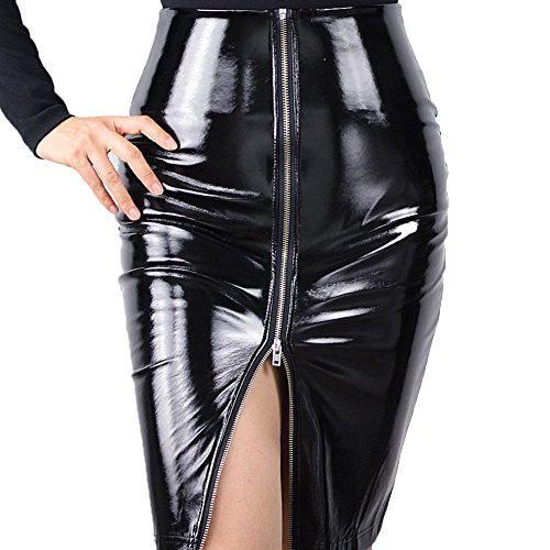 Latex Pencil Skirt Shine Patent Leather Black High Rise Split Zipper Vinyl PVC (L, Black) (Leather Patent Skirt)