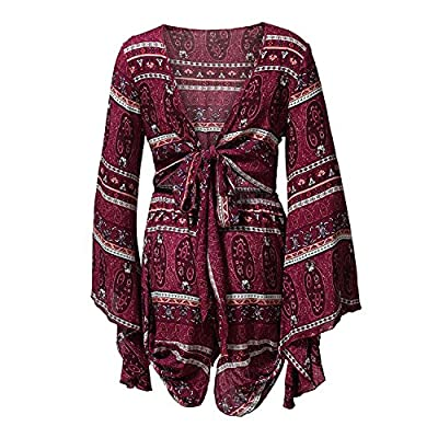 AELSON Women's Boho V Neck Print Romper Playsuit with Long Flare Sleeves: Clothing