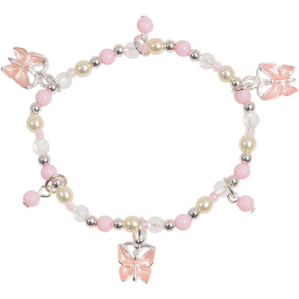 Little Girl Pink Pretty Butterfly Bead Stretch Bracelet in Silver Tone and Enamel