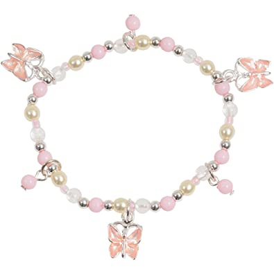 silver bead in tone and butterfly enamel dp girl amazon little pretty stretch bracelet com pink