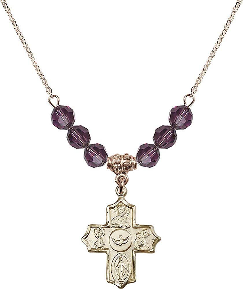 Purple February Birthstone 18-Inch Hamilton Gold Plated Necklace with 6mm Amethyst Birthstone Beads and 5-Way Charm