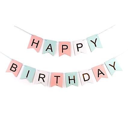 Amazon.com: YangMM Pancarta de pared de feliz cumpleaños ...