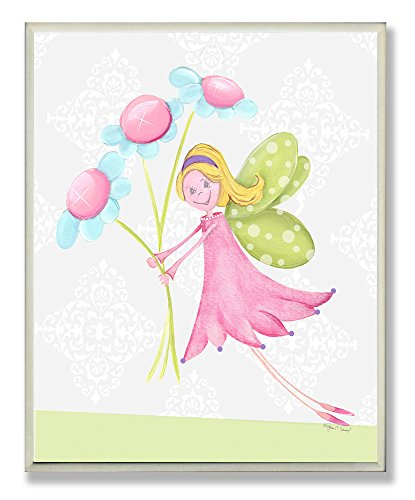 (The Kids Room by Stupell Fairy Princess with Daisies Rectangle Wall Plaque)