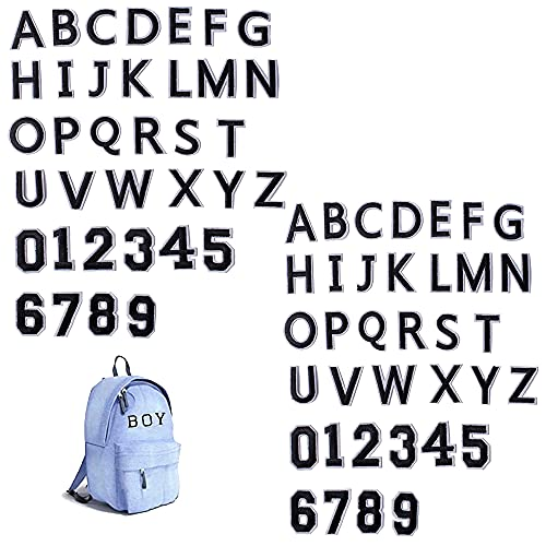 Harsgs 72 PCS Iron on Letters Numbers Patches, Embroidered Patches Letters A-Z Numbers 0-9 Applique for Clothes, Dress, Hat, Jeans, DIY Accessories, Black