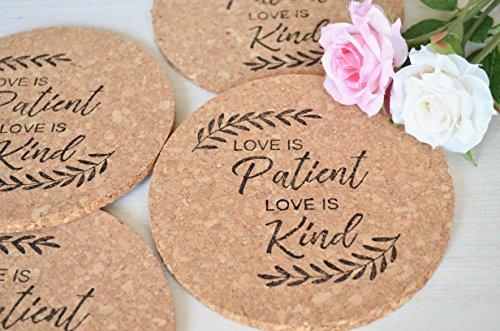 Love Is Patient Love Is Kind Cork Coasters - Set of ()
