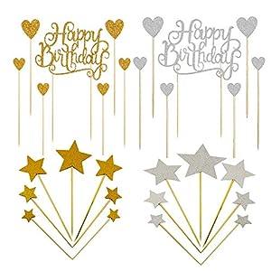 BluVast Deco Gateau Anniversaire,42 Pièces Happy Birthday Gâteau Toppers , doré Argent étoile Décorations de Cupcakes…