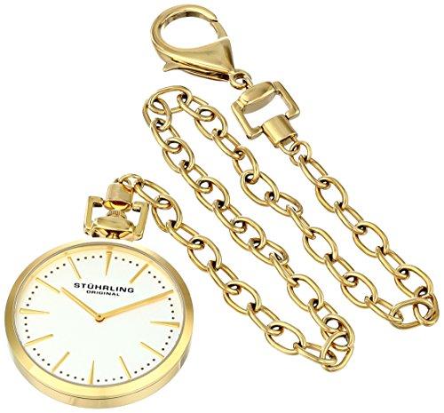 Geneve Gold Pocket Watch - Stuhrling Original 815.02 Special Reserve Analog Display Swiss Quartz Pocket Watch