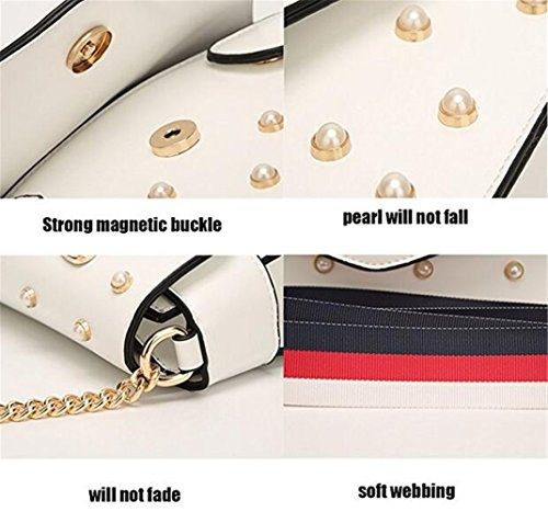 Shoulder Pu Fashion Pearl For Handbags With Women Bags Ibelive Leather Cross Bag Body Red Bee Designer w86qa5xY