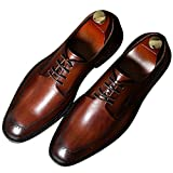 Santimon Dress Shoes for Men Leather Lined Lace-up Modern Classic Formal Oxford Shoes by Brown tan 9.5 D(M) US