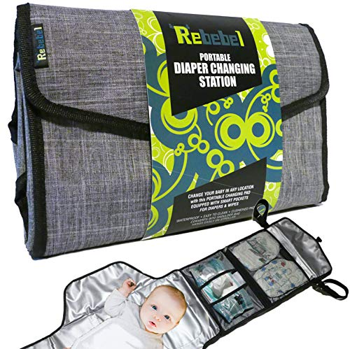 Portable Changing Pad | Baby Diapering Travel Station w Wipes & Diaper Pockets
