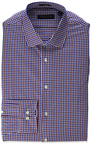 Tommy Hilfiger Men's Dress Shirts Non Iron Slim Fit Check, Rouge, 17
