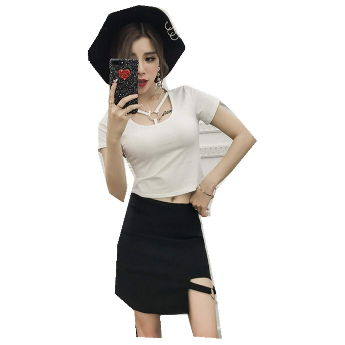 MV Korean Spring Outfit Personality Ring Buckle Short T-Shirt + Bag Hip Skirt Suit