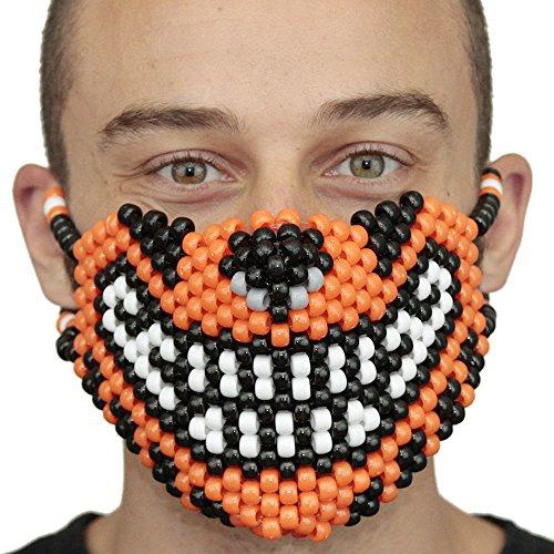 """Masque Kandi """"Tigre Orange"""" - Kandi Gear, masque pour rave party, masque pour Halloween, masque de perle pour festivals de musique et fêtes"""