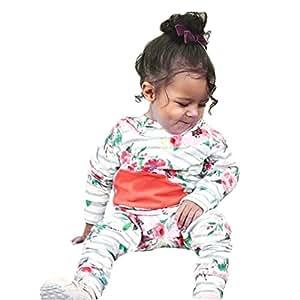 2pcs bebé recién nacido bebé niña Floral rayas con capucha Tops + Pants Trajes Ropa Set por victorcn