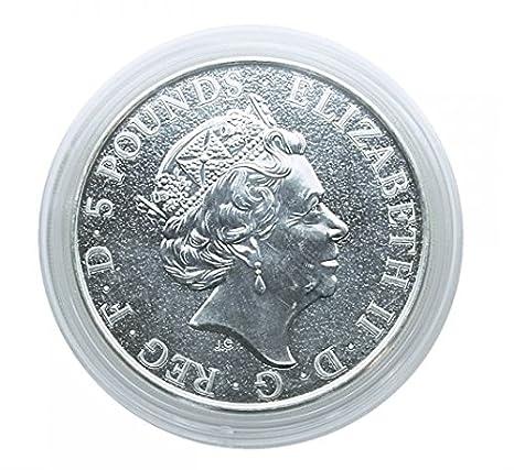 Cápsulas de monedas diámetro interior 39 mm, altura interior 6 mm (10 piezas) [Lindner S2255384P], por ejemplo 2 Oz Reino Unido Reina bestia (plata)