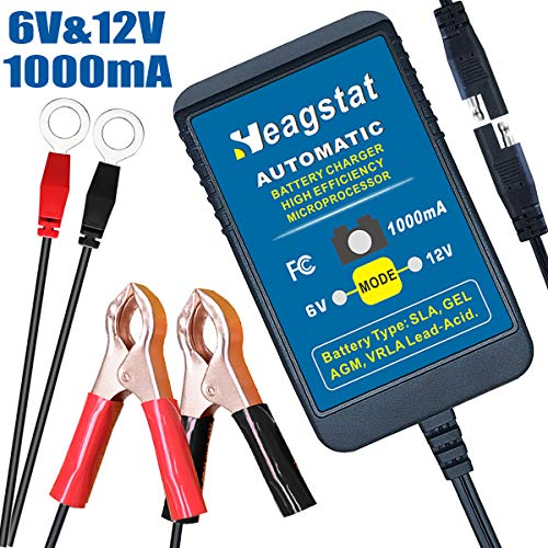 (Heagstat Trickle Battery Charger 6V 12V 1000mA Automatic Smart Battery Maintainer for Auto Car Motorcycle Lawn Mower Boat ATV SLA AGM GEL CELL Lead Acid Batteries)