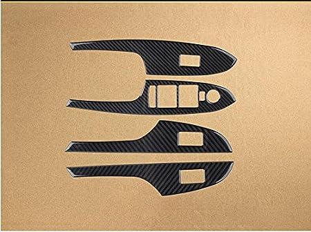 A Carbon Fiber Interior Door Handle Window Lift Regulator Frame Cover Trim For Cadillac ATS 2013-present