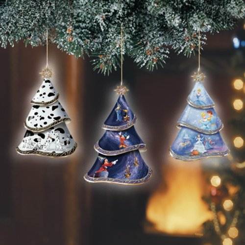 Magic of Disney #1 Heirloom Porcelain Unique Tree Ornaments with Movable Tiers Set of 3