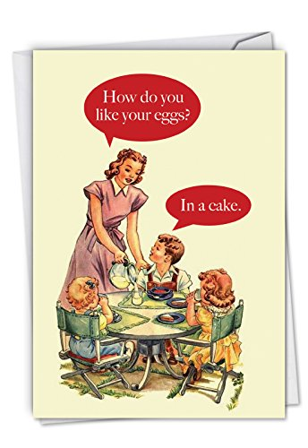 Wants Breakfast - Eggs In Cake: Humorous Birthday Greeting Card Featuring How Tommy Wants His Breakfast Cooked, with Envelope. C4651BDG