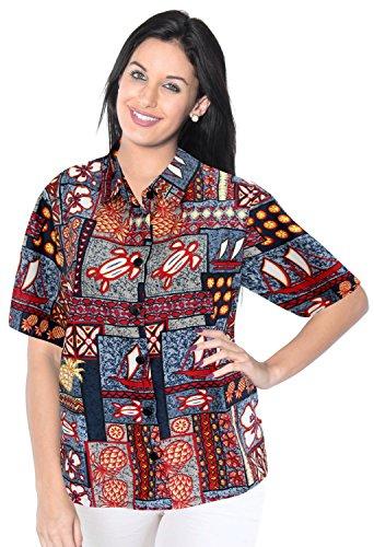 La Leela Likre Vacation Short Sleeves Sales Blouses Female Outfits Boho Festival Resort Tank Pineapple Ship Turtle Grey S
