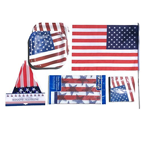 4th of JULY Party Bundle INDEPENDENCE DAY Party Bundle Fourth of July Party Decoration Sale for 20+ People -28 Plates,20 Napkins,1 Plastic Tablecloth,1 US Flag (12