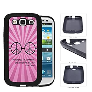 Dreamer John Lennon Quote with Peace Hippie Sunglasses (Pink Swirls) Samsung Galaxy S3 I9300 Rubber Silicone TPU Cell Phone Case by Maris's Diary