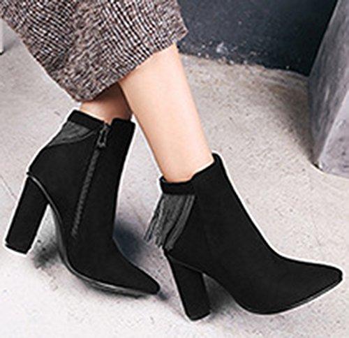 Bloc Talon Noir Bottines Pointues Confort Boots Femme Low Aisun Franges wtazqxI1S